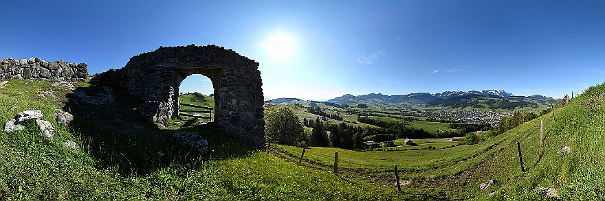 360°-Panorama Appenzell (Burgruine Clanx)